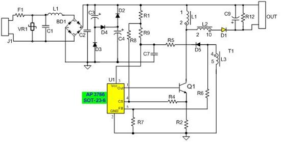 基于ap3766高功率因数非隔离的led驱动电路