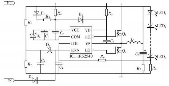 irs2540 的应用电路如图4 所示.