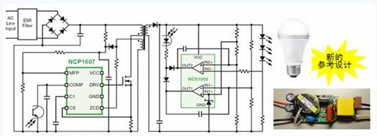 导电模式功率因数校正控制器ncp1607开发出了a19灯泡led驱动器参考