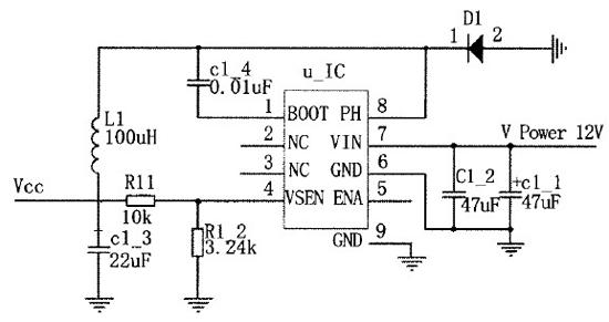电源电路给tcl5941芯片提供电源的同时给led灯组提供