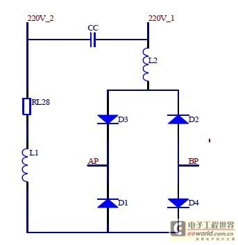 如图2所示电路,由二极管d1,d2,d3,d4组成的桥式整流电路中,由于